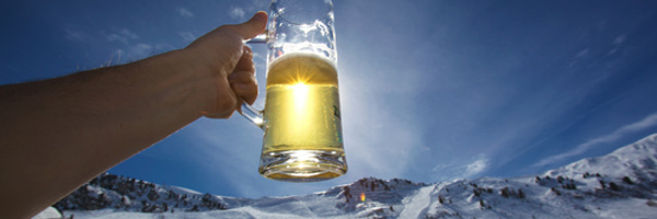 Bier op wintersport