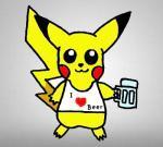 Pikachu houdt van bier