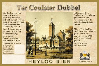 Ter Coulster Dubbel met het etiket van het bier