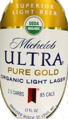 michelob ultra pure gold organic light beer lager