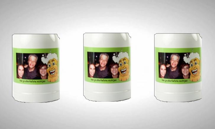 Bierpull met eigen tekst en foto