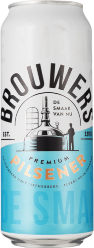 Brouwers Pilsener blik van 0,5 liter