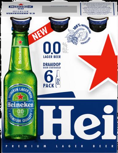 Heineken 0.0 set van 6 flesjes a 0,25 liter