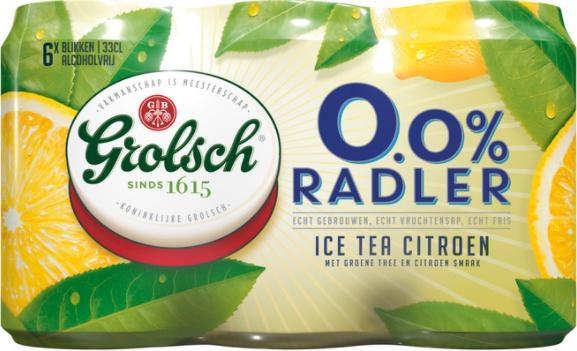 Grolsch 0.0% Radler Ice Tea Citroen set van 6 blikjes á 0,33 liter