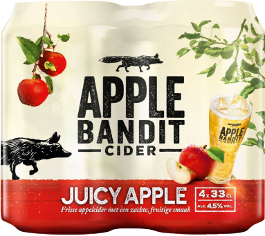Apple Bandit Juicy Apple set met 4 blikjes van 33cl