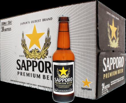 Sapporo bier doos met 24 flesjes van 33cl